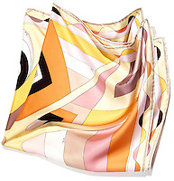 Silk geometric patterned scarf on white background