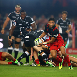 DURBAN, SOUTH AFRICA - MARCH 26: Richie Mo'unga of the BNZ Crusaders during the Super Rugby match between Cell C Sharks and BNZ Crusaders at Growthpoint Kings Park on March 26, 2016 in Durban, South Africa. (Photo by Steve Haag)<br /> <br /> images for social media must have consent from Steve Haag