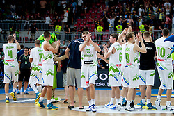 Slovenian players after friendly match between National teams of Slovenia and Bosnia and Herzegovina for Eurobasket 2013 on August 16, 2013 in Podmezakla, Jesenice, Slovenia. (Photo by Urban Urbanc / Sportida.com)