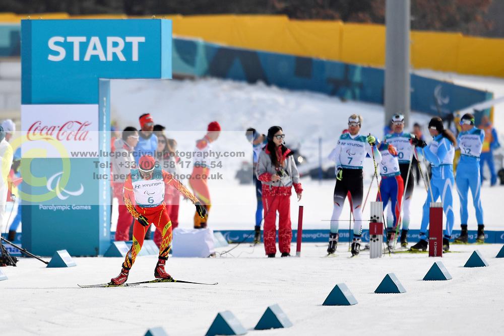 WU Junbao CHN LW5/7 competing in the ParaSkiDeFond, Para Nordic Skiing, 20km at  the PyeongChang2018 Winter Paralympic Games, South Korea.