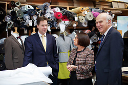 © licensed to London News Pictures. London, UK 02/12/2013. Deputy Prime Minister Nick Clegg and Business Secretary Vince Cable visiting Fashionizer, a small fashion studio in west London to meet with small business owners ahead of the autumn statement. Photo credit: Tolga Akmen/LNP