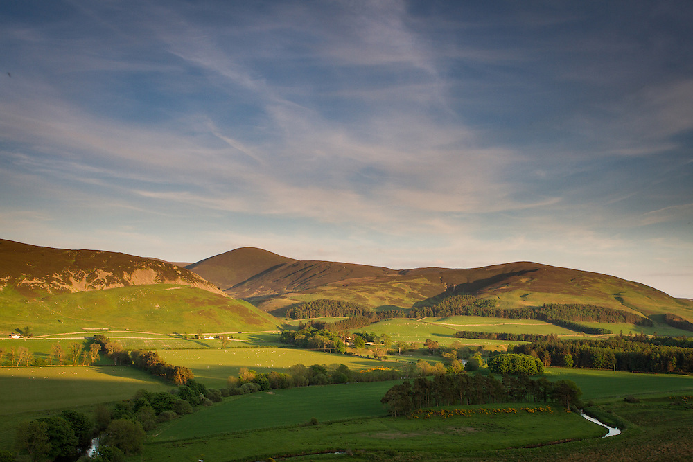 Afternoon light over the region of Drumelzier in the Upper Tweeddale district region of the Scottish Borders