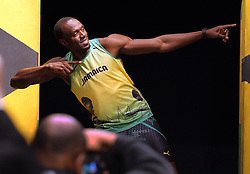Usain Bolt wearing the Jamaican Olympic team kit  which he launched in London, Friday,1st June 2012.  Photo by: Stephen Lock / i-Images