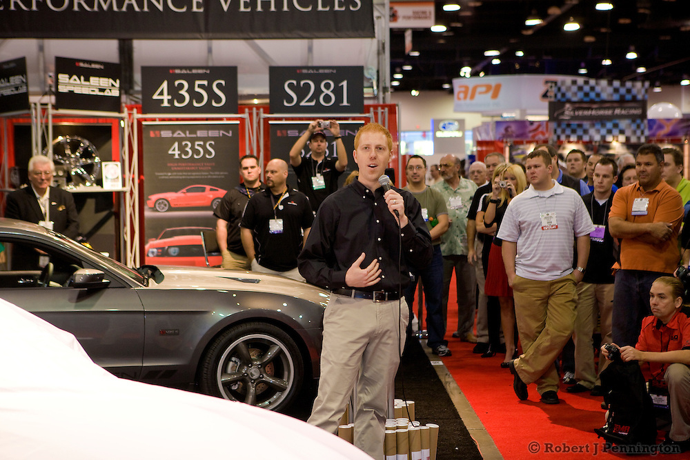 Unveil of the new Saleen S281 Supercharged Mustang. SEMA 2009 in Las Vegas Nevada.