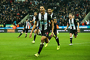 Isaac Hayden (#14) of Newcastle United celebrates scoring Newcastle United's first goal (1-0) during the Premier League match between Newcastle United and Chelsea at St. James's Park, Newcastle, England on 18 January 2020.