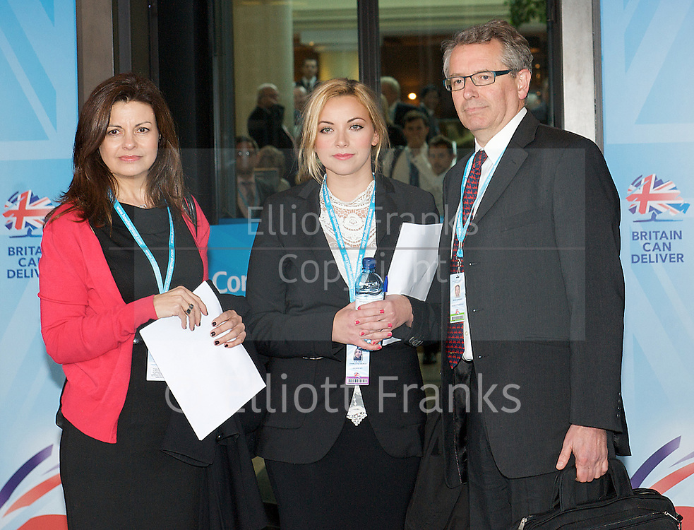 Conservative Party Conference, ICC, Birmingham, Great Britain <br /> Day 3<br /> 9th October 2012 <br /> <br /> Jacqui Hames<br /> Charlotte Church<br /> Brian Cathcart <br /> <br /> photocall prior to Hacked Off meeting <br /> <br /> Photograph by Elliott Franks<br /> <br /> United Kingdom<br /> Tel 07802 537 220 <br /> elliott@elliottfranks.com<br /> <br /> &copy;2012 Elliott Franks<br /> Agency space rates apply
