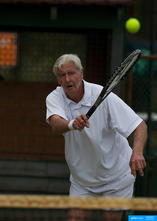 John Powless, USA, in action in the 75 Mens Singles Final during the 2009 ITF Super-Seniors World Team and Individual Championships at Perth, Western Australia, between 2-15th November, 2009.
