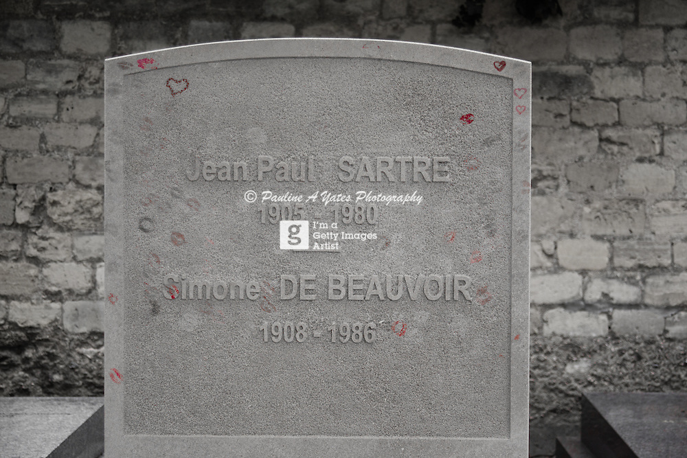 The grave of French philosopher Jean Paul Sartre in Monparnasse, Paris, France.<br />