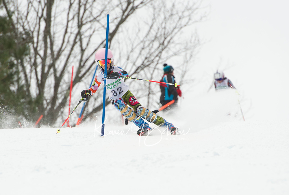 Paul Ladouceur Slalom U12 girls first run with Gunstock Ski Club.  ©2017 Karen Bobotas Photographer
