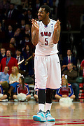 DALLAS, TX - JANUARY 21: Markus Kennedy #5 of the SMU Mustangs tries to energize the crowd against the Rutgers Scarlet Knights on January 21, 2014 at Moody Coliseum in Dallas, Texas.  (Photo by Cooper Neill/Getty Images) *** Local Caption *** Markus Kennedy