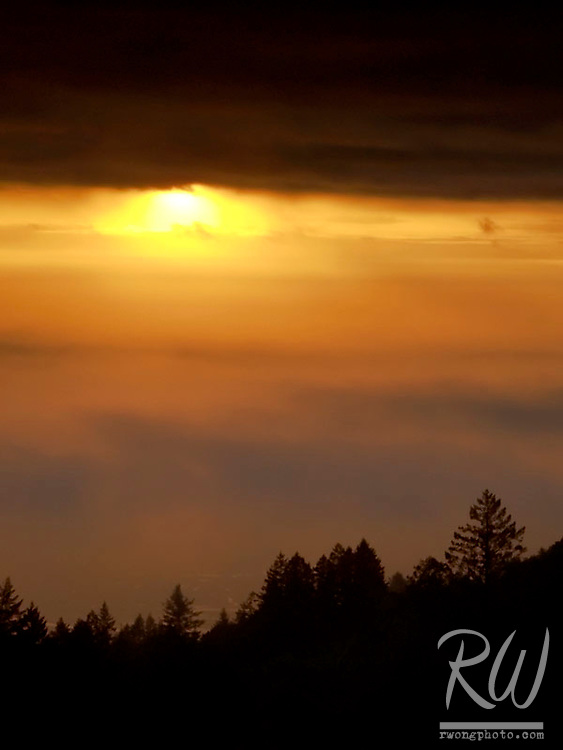 Foggy Sunset over Bolinas Ridge, Mount Tamalpais State Park, California