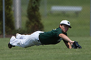 West Deptford's Dominic Bisirri makes a diving catch in centerfield during a elimination bracket game of the Eastern Regional Senior League tournament held in West Deptford on Monday, August 8.