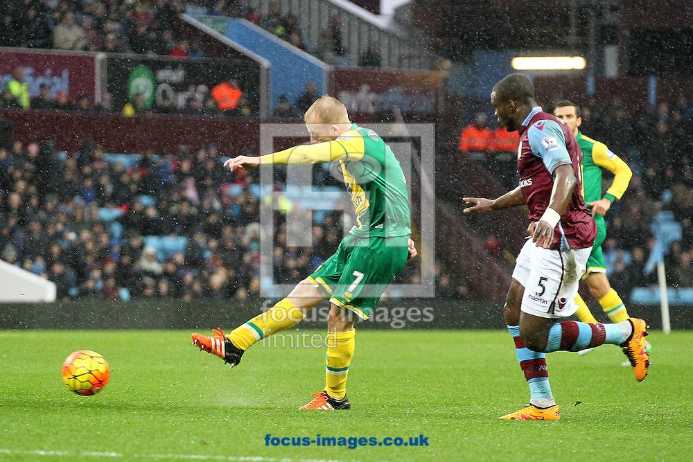 Steven Naismith of Norwich has a shot on goal during the Barclays Premier League match at Villa Park, Birmingham<br /> Picture by Paul Chesterton/Focus Images Ltd +44 7904 640267<br /> 06/02/2016