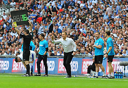 Forest Green Rovers manager Mark Cooper gives orders - Mandatory by-line: Nizaam Jones/JMP - 14/05/2017 - FOOTBALL - Wembley Stadium- London, England - Forest Green Rovers v Tranmere Rovers - Vanarama National League Final
