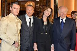 Left to right, LUKE JONES, JEAN CHRISTOPHE BABIN, CARLA SARKOZY and NICOLA BULGARI at the launch of the new Bulgari flagship store at 168 New Bond Street, London on 14th April 2016.