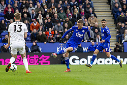 March 9, 2019 - Leicester, Leicestershire, United Kingdom - Jamie Vardy of Leicester City shoots and scores the third goal during the Premier League match between Leicester City and Fulham at the King Power Stadium, Leicester on Saturday 9th March 2019. (Credit Image: © Mi News/NurPhoto via ZUMA Press)