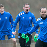 St Johnstone Preview....04.04.14<br /> Frazer Wright pictured during training this morning ahead of tomorrow's game at Kilmarnock with David Wotherspoon and Lee Croft<br /> Picture by Graeme Hart.<br /> Copyright Perthshire Picture Agency<br /> Tel: 01738 623350  Mobile: 07990 594431