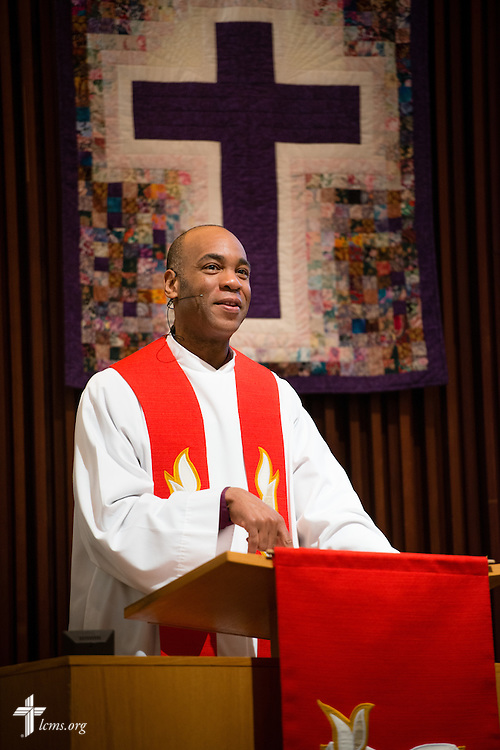 The Rev. Dr. Alexander Whitfield, associate pastor, preaches during worship at Brookfield Lutheran Church on Sunday, March 29, 2015, in Brookfield, Wis. LCMS Communications/Erik M. Lunsford