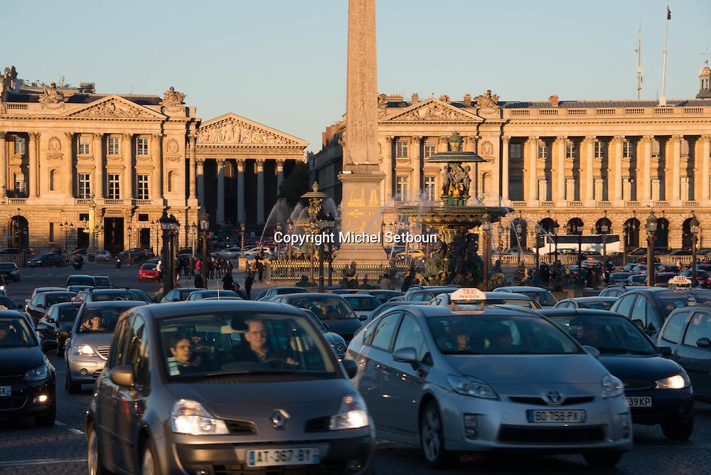 France. Paris. 8th district. Place de la Concorde, Fountain/ Fontaine de la place de la Concorde.