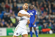 Kemar Roofe of Leeds United celebrates scoring his teams first goal during the EFL Sky Bet Championship match between Cardiff City and Leeds United at the Cardiff City Stadium, Cardiff, Wales on 26 September 2017. Photo by Andrew Lewis.