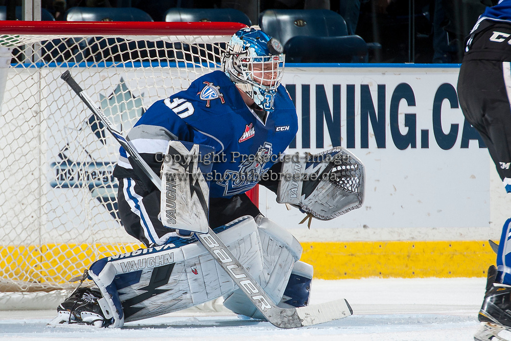 KELOWNA, CANADA - MARCH 7: Griffen Outhouse #30 of the Victoria Royals uses his head and makes a first period save against the Kelowna Rockets on March 7, 2017 at Prospera Place in Kelowna, British Columbia, Canada.  (Photo by Marissa Baecker/Shoot the Breeze)  *** Local Caption ***
