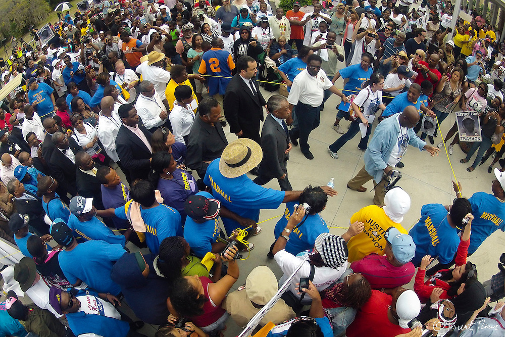March 31, 2012 - Sanford, Florida, U.S. - Reverend AL SHARPTON and JESSE JACKSON walk through the crowd in Sanford, Florida at the justice rally for Treyvon Martin.
