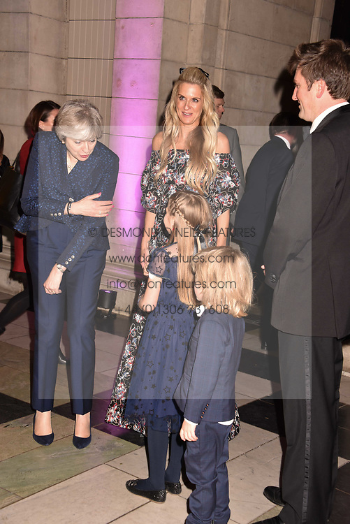 Lady Jubie Wigan,  The Prime Minister Theresa May and Aliena Wigan at The Sugarplum Dinner 2017 to benefit the type 1 diabetes charity JDRF held at the Victoria & Albert Museum, Cromwell Road, London England. 14 November 2017.<br /> Photo by Dominic O'Neill/SilverHub 0203 174 1069 sales@silverhubmedia.com