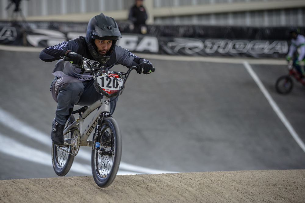 #120 (PELLUARD Vincent) COL at Round 2 of the 2019 UCI BMX Supercross World Cup in Manchester, Great Britain