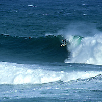 Doug Young and Nat Parsons surfing Papatowai in the Catlins, New Zealand
