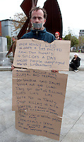John Clarke from Mayo protesting  in Eyre Square during an Occupy Galway public meeting after the Encampment was removed  in  Galway City. Photo:Andrew Downes