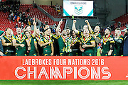Champions Australia celebrate during the Ladbrokes Four Nations match between Australia and New Zealand at Anfield, Liverpool, England on 20 November 2016. Photo by Craig Galloway.