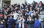 Dundee fans applaud their team at full time - Motherwell v Dundee, SPFL Premiership at Fir Park<br /> <br />  - &copy; David Young - www.davidyoungphoto.co.uk - email: davidyoungphoto@gmail.com