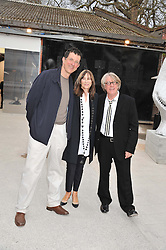 Left to right, ANTONY GORMLEY and FRANK & CHERRYL COHEN at the opening of the Dairy Art Centre, 7a Wakefield Street, Bloomsbury, London WC1 on 24th April 2013.