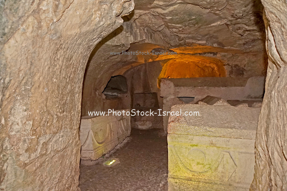 Israel, Beit Shearim, interior of a catacomb. 2-4 centuries CE (the Roman period). The people of Beit She'arim dug ornate catacombs, interconnected by tunnels, creating a huge underground necropolis. The caves are full of stylized sarcophagi, decorated with Jewish and secular symbols. During excavations done in this site, more than 30 burial caves were discovered