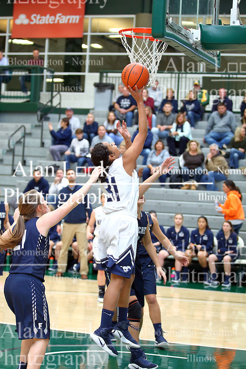 19 January 2017: IHSA Girls Basketball game during the McLean County Tournament at Shirk Center in Bloomington Illinois - Girls Semi-finals Fieldcrest Knights v Ridgeview Mustangs