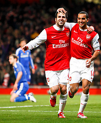 27.12.2010, Emirates Stadium, London, ENG, PL, FC Arsenal vs Chelsea FC, im Bild // Arsenal's Cesc Fabregas  celebrates his goal with Arsenal's Theo Walcott.Barclays Premier League.Arsenal v Chelsea.at Emirates Stadium 27/12/2010, EXPA Pictures © 2010, PhotoCredit: EXPA/ IPS/ K. Galvin *** ATTENTION *** UK AND FRANCE OUT!