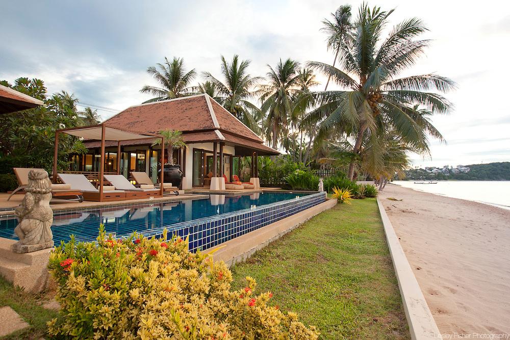 Beach front at Baan Dalah Villa, Bang Rak, Koh Samui, Thailand