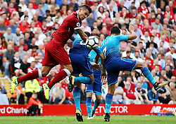 Dejan Lovren of Liverpool challenges Arsenal's Aaron Ramsey and Alexis Sanchez - Mandatory by-line: Matt McNulty/JMP - 27/08/2017 - FOOTBALL - Anfield - Liverpool, England - Liverpool v Arsenal - Premier League