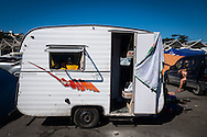 A small caravan with bunk beds at the site set up for football fans who had nowhere to stay but the tents, campervans, cars and caravans that they had bought with them. The site, at the Terreirao Do Samba, Rio de Janeiro, Brazil, was arranged by the city government once they realised the number of fans in this situation was significant and rather than having them scattered about the sity they offered secure, enclosed accommodation with sanitation and water. The majority of fans at the site were Argentinian but there were also people from Chile, USA, Uruguay and Colombia. Photo by Andrew Tobin/Tobinators Ltd