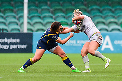 Marlie Packer of Saracens Ladies is tackled by Zoe Bennion of Worcester Valkyries  - Mandatory by-line: Craig Thomas/JMP - 30/09/2017 - RUGBY - Sixways Stadium - Worcester, England - Worcester Valkyries v Saracens Women - Tyrrells Premier 15s