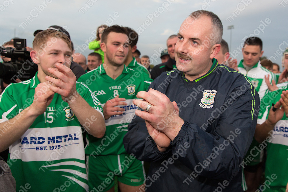 Wolfe Tones Captain Kevin McCafferty with Manager James Carrigg