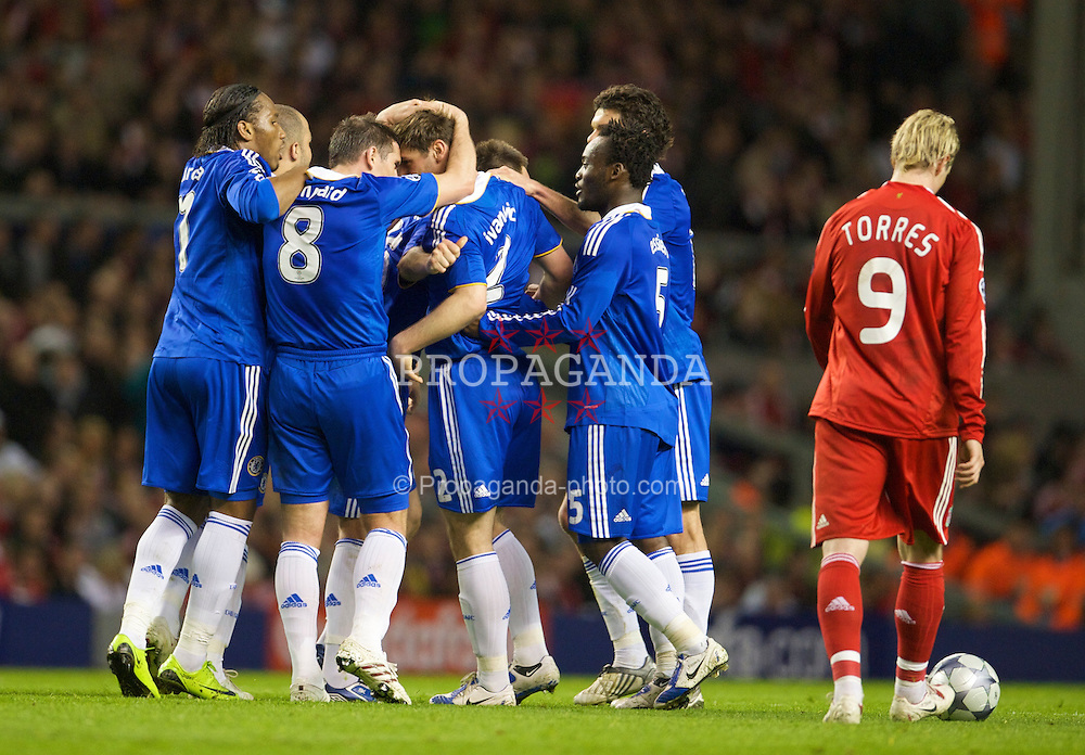 LIVERPOOL, ENGLAND - Wednesday, April 8, 2009: Chelsea's players celebrate Branislav Ivanovic's equalising goal against Liverpool during the UEFA Champions League Quarter-Final 1st Leg match at Anfield. (Photo by David Rawcliffe/Propaganda)