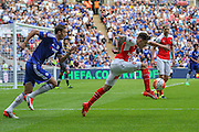 Hector Bellerin clears the ball for Arsenal during the FA Community Shield match between Chelsea and Arsenal at Wembley Stadium, London, England on 2 August 2015. Photo by Shane Healey.