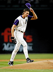 Phoenix, AZ-05-12-04 Randy Johnson gets ready to pitch against the New York Mets. Johnson threw 96 pitches over 7 innings allowing 3 hits and one run. The mets won 1-0 Ross Mason photo