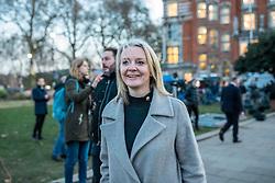 © Licensed to London News Pictures. 12/12/2018. London, UK. Chief Secretary to the Treasury Elizabeth Truss arrives on College Green to give interviews to the media. Prime Minister Theresa May faces a vote of no confidence from her own party this evening. Photo credit: Rob Pinney/LNP