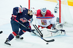 Anders Lee of USA cs Ondrej Pavelec of Czech Republic during Ice Hockey match between USA and Czech Republic at Third place game of 2015 IIHF World Championship, on May 17, 2015 in O2 Arena, Prague, Czech Republic. Photo by Vid Ponikvar / Sportida