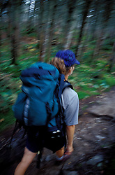 Backpacking. Franconia Ridge Trail, just below Mt. Liberty. Boreal forest.  White Mountain N.F., NH