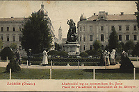 Zagreb (Croatie): Akademički trg sa spomenikom Sv. Jurja = Place de l'Académie et monument de St. Georges. <br /> <br /> ImpresumZagreb : Naklada M. Iaklin, [1906].<br /> Materijalni opis1 razglednica : tisak ; 8,9 x 14 cm.<br /> Korporativni suradnikS. D. Modiano Trieste<br /> Mjesto izdavanjaZagreb<br /> Vrstavizualna građa • razglednice<br /> ZbirkaZbirka razglednica • Grafička zbirka NSK<br /> Formatimage/jpeg<br /> PredmetZagreb –– Trg Josipa Jurja Strossmayera<br /> Jezikhrvatski<br /> SignaturaRZG-STRG-8<br /> Obuhvat(vremenski)20. stoljeće<br /> NapomenaRazglednica je putovala 1906. godine.<br /> PravaJavno dobro<br /> Identifikatori000952337<br /> NBN.HRNBN: urn:nbn:hr:238:293149 <br /> <br /> Izvor: Digitalne zbirke Nacionalne i sveučilišne knjižnice u Zagrebu