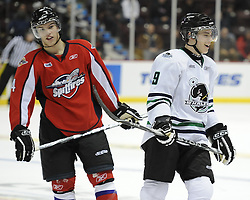 Taylor Hall (left) of the Windsor Spitfires and Tyler Seguin of the Plymouth Whalers in the Home Hardware CHL Top Prospects Skills Competition in Windsor, ON on Tuesday. Photo by Aaron Bell/OHL Images.