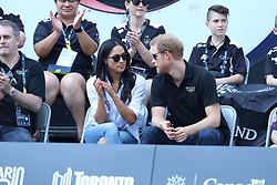 Prince Harry and Meghan Markle made their first public appearance together at the finals of the wheelchair tennis finals at the Invictus games Toronto <br />